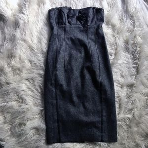 Bebe Tweed & Leather Trimmed Body Con Dress
